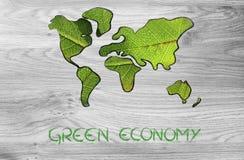 Zielona gospodarka, światowa mapa zakrywająca zielonymi liśćmi Obrazy Stock