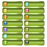 Zielona guzik kolekcja z kolorowymi glansowanymi sferami Fotografia Royalty Free