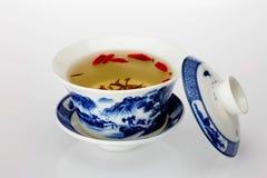 Zielona herbata i herbaciana filiżanka Zdjęcie Stock