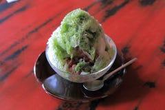 Zielona herbata Kakigori i czerwone fasole, Obraz Royalty Free