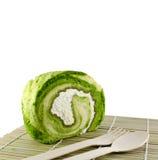 Zielona herbata torta rolka z świeżą śmietanką Zdjęcie Royalty Free