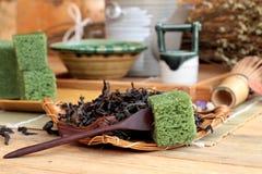Zielona herbata tortowy japoński deser i zielona herbata Zdjęcia Stock