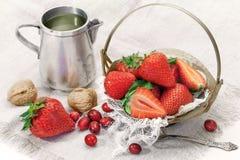 Zielona herbata z świeżymi truskawkami Obrazy Royalty Free