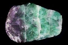 zielona i fiołkowa fluoryt kopalina odizolowywająca Zdjęcie Stock