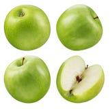 Zielona jabłczana kolekcja kolekci owoc odosobniony biel Zdjęcia Stock