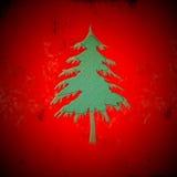Zielona jedlinowa choinka na grunge czerwieni tle Zdjęcie Royalty Free