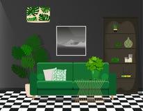 Zielona kanapa przeciw czarnej ścianie Kontrastujący, jaskrawy wnętrze fotografia royalty free