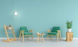 Zielona kanapa w żywym pokoju dla mockup, 3D rendering Royalty Ilustracja
