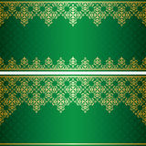 Zielona karta z złocistym rocznika ornamentem Fotografia Royalty Free