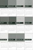 Zielona kelp i myśliwego zieleń barwił geometrycznego wzoru kalendarz 2016 Fotografia Royalty Free