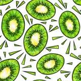 Zielona kiwi owoc na białym tle Kiwi doodle rysunek bezszwowy wzoru Fotografia Stock