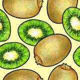 Zielona kiwi owoc odizolowywająca na żółtym tle Kiwi doodle rysunek bezszwowy wzoru Zdjęcia Stock