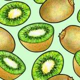Zielona kiwi owoc odizolowywająca na zielonym tle Kiwi doodle rysunek bezszwowy wzoru Obraz Stock