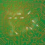 Zielona komputer deska z drutowaniem royalty ilustracja