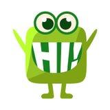 Zielona kropla Mówi Zamiast zębów Cześć, Śliczny Emoji charakter Z słowem W usta Emoticon wiadomość, royalty ilustracja