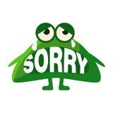 Zielona kropla Mówi Zmartwionego, Ślicznego Emoji charakteru Z słowem W usta, Zamiast zębów, Emoticon wiadomość ilustracja wektor