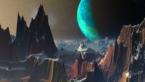 Zielona księżyc przeciw fantastycznemu krajobrazowi ilustracja wektor