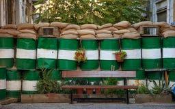 Zielona lina przy Nikozja, Lefkosia, Cypr Baryłki zakazywać sposób Zamyka w górę widoku, szczegóły zdjęcia stock
