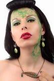 Zielona makijaż dziewczyny sztuki nouveau kolia Zdjęcia Stock