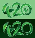 Zielona marihuana liścia 420 teksta ilustracja Obraz Royalty Free