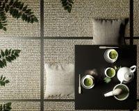 Zielona matcha herbata, proszek w depresja stole na tata macie, bambusowy śmignięcia, łyżki i herbaty, ?wiadczenia 3 d ilustracji