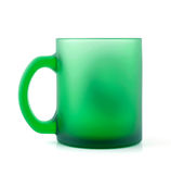 Zielona matowa szklana filiżanka Fotografia Royalty Free