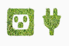 Zielona murawa loga władzy prymka i ujście Zdjęcie Royalty Free