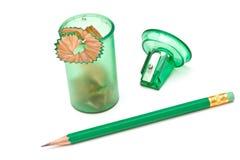 zielona ołówkowa ostrzarka Zdjęcia Stock
