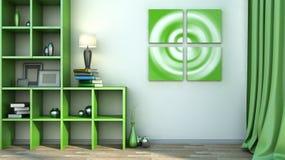 Zielona półka z wazami, książkami i lampą, Zdjęcia Royalty Free