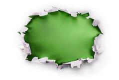 Zielona papierowa dziura. Obraz Royalty Free