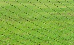 Zielona piłki nożnej sieć nad zieleni polem Zdjęcia Royalty Free
