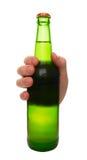 Zielona piwna butelka Fotografia Royalty Free
