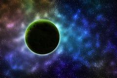 Zielona planeta W galaxy Zdjęcie Royalty Free