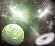 Zielona planeta w przestrzeni Zdjęcia Royalty Free