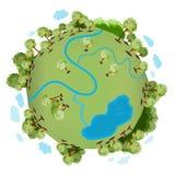 Zielona planeta z wiele zielonymi drzewami Obrazy Stock