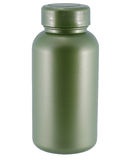 Zielona plastikowa medycyny butelka na białym tle obrazy royalty free