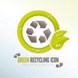 Zielona przetwarza ikona dla ecologic gospodarki odpadami Obrazy Stock
