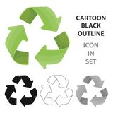 Zielona przetwarza szyldowa ikona w konturu stylu odizolowywającym na białym tle Życiorys i ekologia symbolu zapasu wektor Zdjęcie Royalty Free