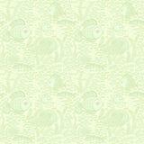 Zielona ręka rysować ryba Tapetowy tekstylny bezszwowy ryba wzór royalty ilustracja