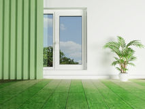 Zielona roślina blisko okno royalty ilustracja