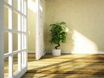 Zielona roślina stoi blisko drzwi ilustracji