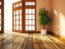 Zielona roślina stoi blisko okno ilustracja wektor
