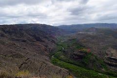 Zielona rzeka wi się przez Kokee i Waimea jaru stanu parka w Kauai Hawaje Fotografia Royalty Free