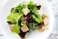 Zielona sałatka z truskawka kawałkami i Obraz Royalty Free