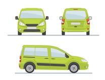 Zielona samochód strona Tylny widok - przód - Obrazy Royalty Free