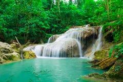Zielona scena przy Erawan siklawą, Erawan park narodowy Fotografia Royalty Free