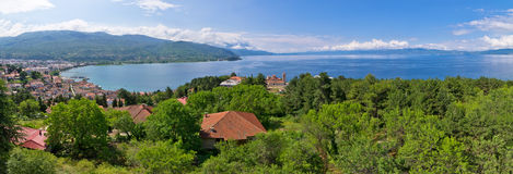 Zielona sceneria w Ohrid, Macedonia Zdjęcie Stock