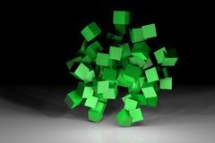 Zielona sześcian scena Obrazy Royalty Free