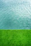 Zielona trawa blisko rzeki Obrazy Royalty Free