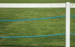 Zielona trawa i bielu ogrodzenie obraz stock